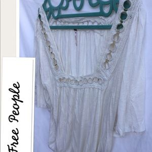 NWOT Free People size med BOHO top with crochet